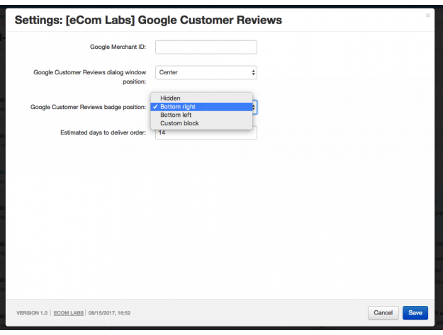 "CS-Cart Модуль ""Google Customer Reviews"""