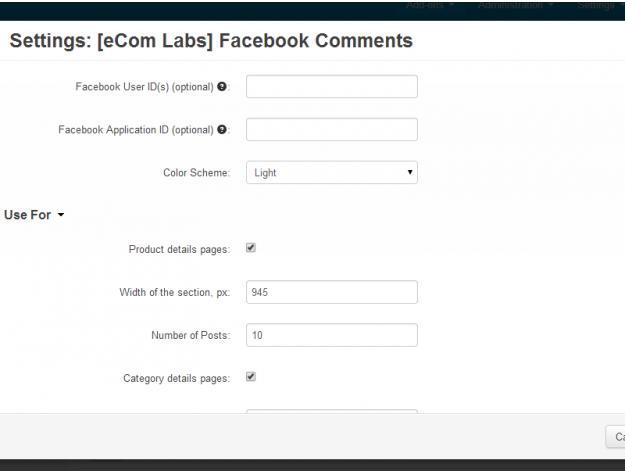 """CS-Cart Модуль """"Комментарии Facebook"""""""