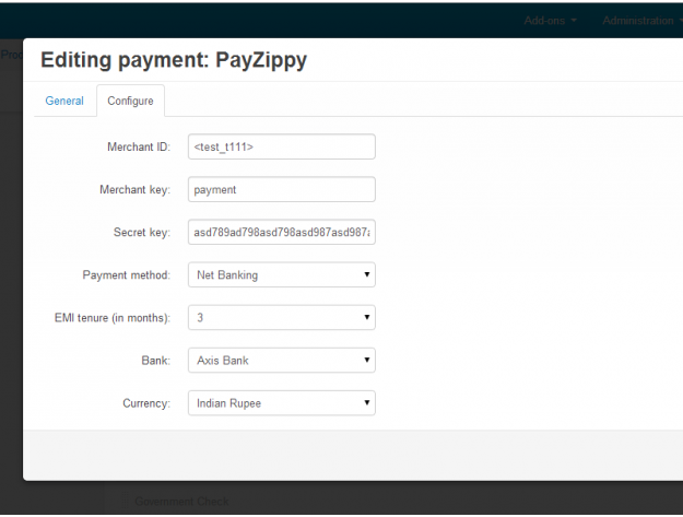 PayZippy Redirect для CS-Cart